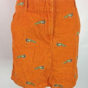 J. Crew Mini Skirt Orange Corduroy Peacocks Cotton 71cf2c4b522